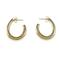 Post Top Hoop Earrings 14k Yellow Gold