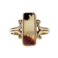 Vintage Banded Agate Ring 1930 10k Yellow Gold