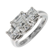 Hammerman Brothers Asscher Cut Diamond 3 Stone Engagement Ring Platinum