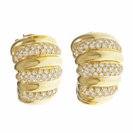 Van Cleef & Arpels Diamond Earrings Hoop Ear Clips 18k Yellow Gold
