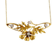 Victorian Oak Leaf Diamond Necklace Old Min Cut 14k Yellow Gold