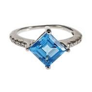 Estate Bright Blue Square Topaz Ring 14k White Gold Diamond
