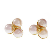 Estate Cultured Pearl Earrings 18k Yellow Gold Clip Post