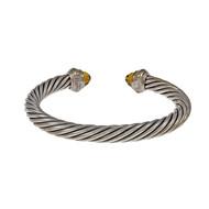 Estate David Yurman Cable Classic Bangle Bracelet 7mm Silver 14k