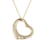 Tiffany & Co Elsa Peretti Heart Pendant Medium 18k Yellow Gold Diamond