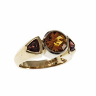 Estate Citrine Garnet Ring 14k Yellow and White Gold
