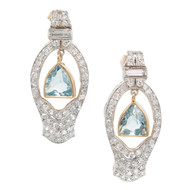 Vintage 1940 Platinum 14 Karat Gold Dangle Earrings Aqua and Diamonds