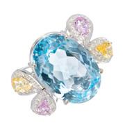 Estate Large Blue Topaz Dinner Ring 18K White Gold Sapphire Diamonds