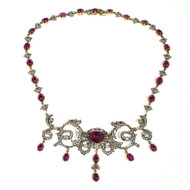 Victorian Tourmaline Diamond Silver Gold Pendant Necklace