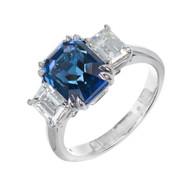 Peter Suchy Natural Blue Emerald Cut Sapphire Diamond Platinum Engagement Ring
