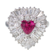 1.13 Carat Palais Ruby Diamond Ringdant Platinum Pendant Ring