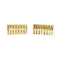 Estate 1950 Textured Rectangular Cuff Links 14k Yellow Gold