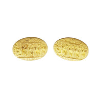 Estate Lalaounis Cuff Links 18k Yellow Gold Textured
