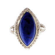 Vintage 1930 Filigree Marquise Lapis Ring 14k White Gold