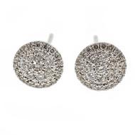 Round Diamond Cluster stud Earrings 14k White Gold