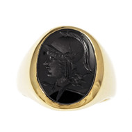 Larter & Sons Carved Onyx Men's Ring 14k Yellow Gold