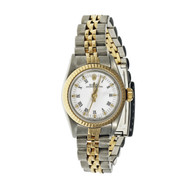 Ladies Rolex Oyster Perpetual 67193 2 Tone White Roman Dial