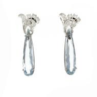 Vintage 1950 Pear Aqua Drop Earrings 14k White Gold Diamond