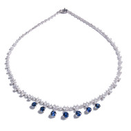 Estate Fine Sapphire Diamond Necklace Platinum Hinged Links