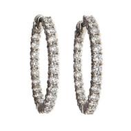Estate 4.00ct Inside Outside Diamond Hoop Earrings 18k White Gold