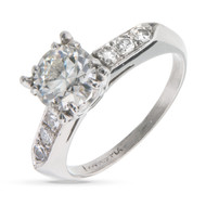 Vintage Transitional Cut Diamond Engagement Ring Platinum
