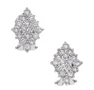 Estate Marquises Cluster Round Diamond Earrings 14k White Gold