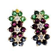 Estate Ruby Emerald Sapphire Diamond Flower Earrings 14k Yellow Gold