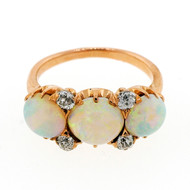 Antique Victorian 2.40ct Fine Opal 14k Pink Gold Diamond Ring