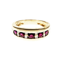 Bright Red Ruby Diamond Band Ring 14k Yellow Gold