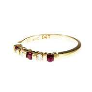 Bright Red Ruby Diamond Band Ring Bar Set 14k Yellow Gold