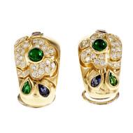 Vintage Italian Hoop Clip Post Earrings Emerald Ruby Sapphire Diamond 18k Gold