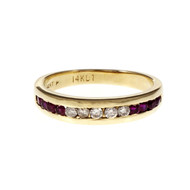 Channel Set Ruby Diamond Band Ring 14k Yellow Gold