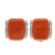 Rare Natural GIA Coral Earrings Diamond 1960 18k Yellow Gold