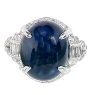 1920s Art Deco 12.13ct Cabochon Royal Dark Blue Sapphire Platinum Diamond Ring