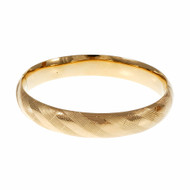 Estate Hinged Domed Bangle Bracelet 14k Yellow Gold