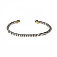 David Yurman 3mm Chrysophase Cable Bracelet Silver 18k Yellow Gold