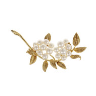Estate Mikimoto Flower Pin Japanese Cultured Pearls