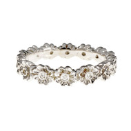 Diamond Flower Eternity Band Ring 18k White Gold
