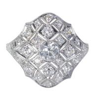 Art Deco Filigree Dome Diamond Ring 1900 Platinum Diamond