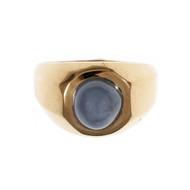 Retro 1940 Men's Star Sapphire Ring 14k Pink Gold Light Blue Star