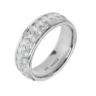 2 Row Diamond Wedding Band Ring Platinum 1.20cts 6mm Wide