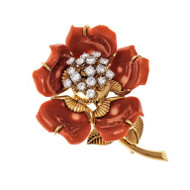 En Tremblant Natural Coral Diamond Pin 14k Yellow Gold