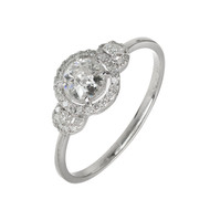 3 Stone Diamond Halo Engagement Ring 14k White Gold