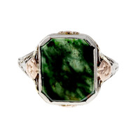 Retro 1940 Estate Bloodstone Ring Pink & White Gold