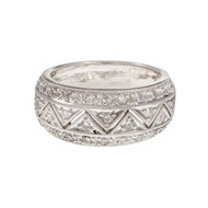 Antique Style Pavé Set Diamond Band Ring Platinum