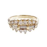 Estate Round Baguette Diamond Ring 14k Yellow Gold
