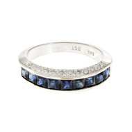 Square French Cut Sapphire Channel Set Ring 14k White Gold Diamond Set Sides
