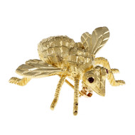 Herbert Rosenthal Bee Broach 18k Yellow Gold Ruby