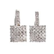 Estate Square Diamond Earrings 14k White Gold