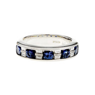 Round Sapphire Baguette Diamond Channel Band Ring Platinum